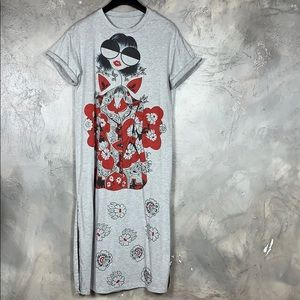Asian inspired printed midi tee dress